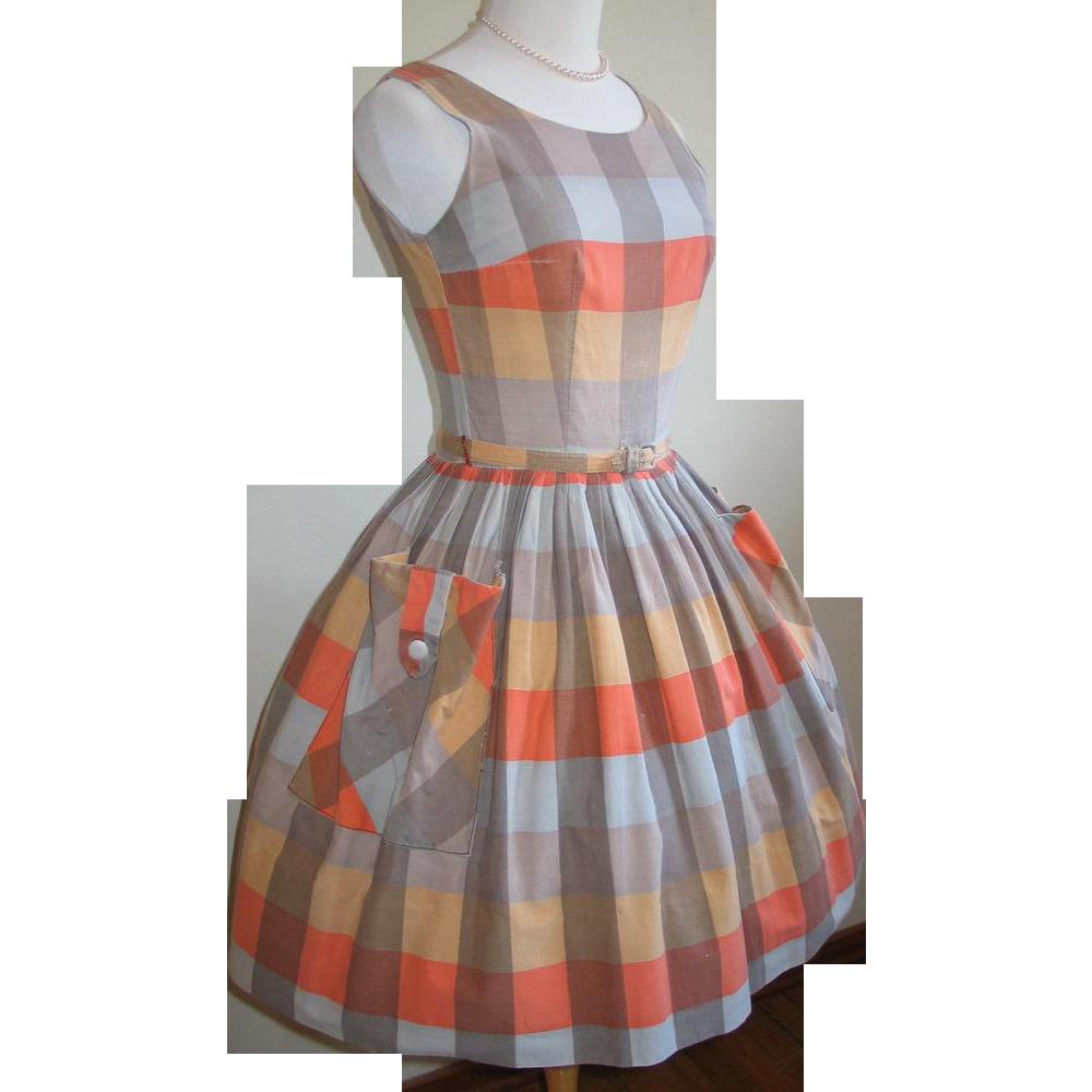 Vintage 1950s 1960s Orange Cocoa Gold Plaid Fit n Flare Full Skirt Dress XS