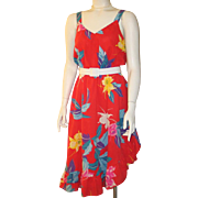 Vintage 1970s Exotic Red Tropical Floral Sundress by Goody S