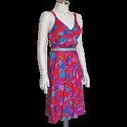 Vintage 1970s Red Purple Blue Floral Print Knit Summer Sun Dress S M