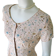 Vintage 1990s Spring Pastel Peach Sage Blue Tiny Floral Print Baby Doll Tie Back Dress S M