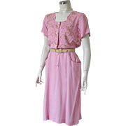 Vintage 1960s Pink Dress with Embroidery by Kay Whitney M L