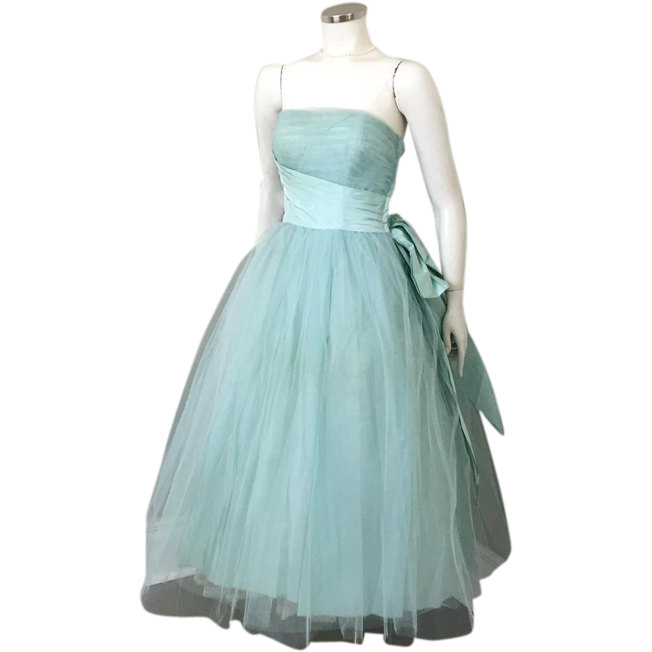 Vintage 1950s Aqua Tulle and Satin Strapless Fit and Flare Formal Gown Party Dress XS S