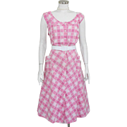 Vintage 1950s Pink and White Check Plaid Day Housedress Dress XL Volup