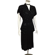 Vintage 1940s Black Crepe Cocktail Dress with Tiny Aqua Stud Beads XL Volup
