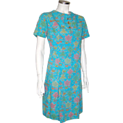 Vintage 1960s Novelty Print Shift Dress Turquoise Pink Gold Lime M Kay Whitney