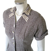 Vintage Early 1950s Sheer Mocha Brown Cream Summer Dress with Dainty Flower Trim Collar S