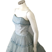 Vintage 1950s Light Blue Fit and Flare Tiered Skirt Crinoline Formal Attendants Bridal Party Dress  XS