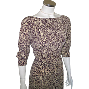 Vintage 1980s Brown and Tan Slinky Abstract Swirl Day to Dinner Dress M L