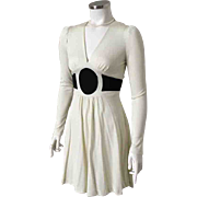 Vintage 1970s Rag Dolls San Francisco Two Tone Black Cream Body Hugging Knit Dress S