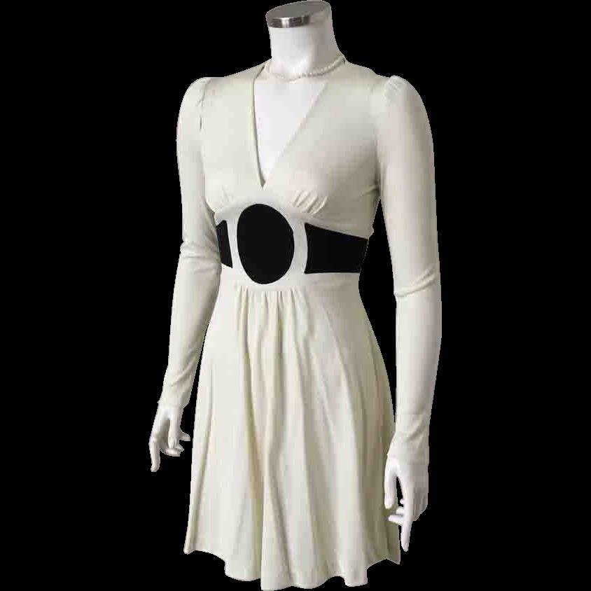 Vintage 1970s Rag Dolls San Francisco Two Tone Black Cream Body Hugging Knit Dress S