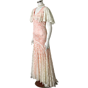 Vintage 1980s Cream Lace over Peach Satin Gown Formal Maxi Dress  XS