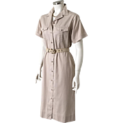 Vintage 1980s LL Bean Khaki Safari Shift Shirtdress M