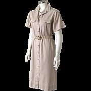Vintage 1980s LL Bean Khaki Safari Shift Shirtdress M