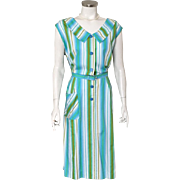 Vintage 1960s Kay Whitney Striped Day Dress Volup XL