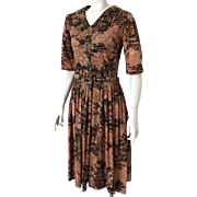 Vintage 1960s Slinky Landscape Novelty Print Dress in Brown and Black with Original Belt M
