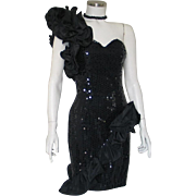 Vintage 1980s Black One Shouldered Asymetrical Sequined Cocktail Party Event Soiree Dress S