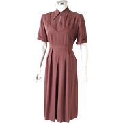 Vintage 1940s Reddish Brown Gabardine Fit and Flare Swing Dance Dress by Georgiana  S M