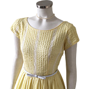 Vintage 1960s Yellow Spring Fit and Flare Dress with Wide Neckline and White Lace Trim S