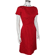 Vintage 1960s Lipstick Red Floral Brocade Party Dress Roses Jacquard S M