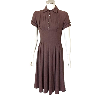 Vintage 1950s Kayron Brown Rayon Tuxedo Shelf Bust Dress with Piped Trim S