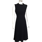 Vintage 1960s LBD Black Fitted Cocktail Event Dress by Elinor Simmons for Malcolm Starr S M