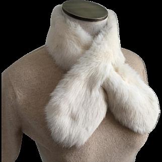 Vintage Winter White Fur Scarf Tippet Tie
