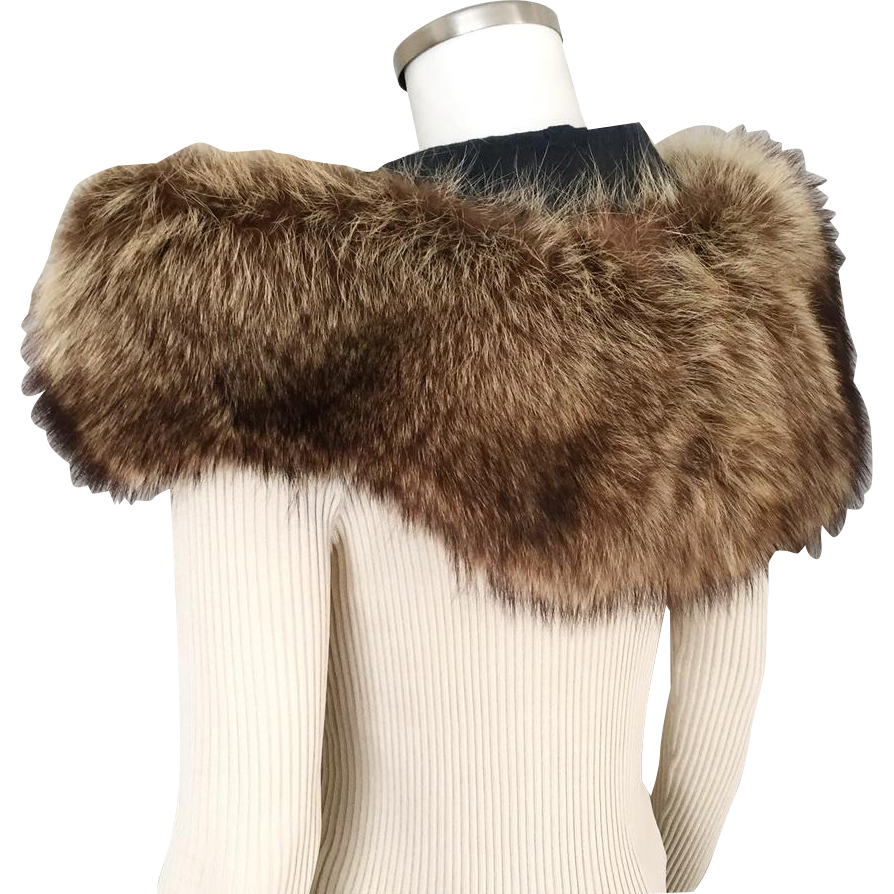 Vintage 1930s Luxurious Deep Thick Fur Shoulder Shrug Winter Evening