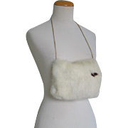 Vintage 1950s Small White Fur Muff with Brown Fur Accent