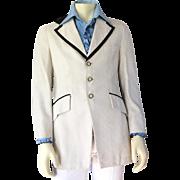 Vintage 1970s White Brocade Tuxedo Dinner Jacket with Black Braid Contrast Trim 38 Reg