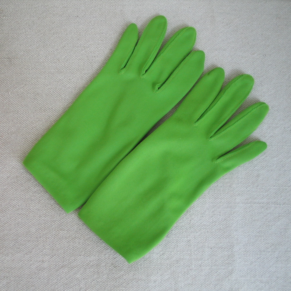 Vintage 1960s Bright Neon Lime Green Day Gloves