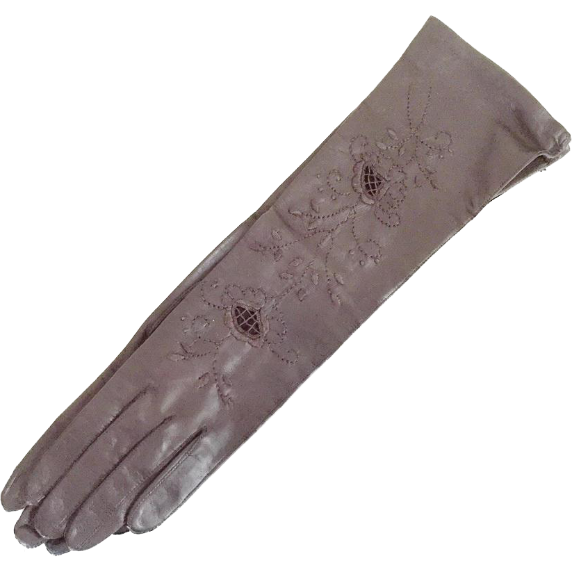 Vintage 1960s NOS Made In Italy Brown Leather Embroidered Gloves Sized 6