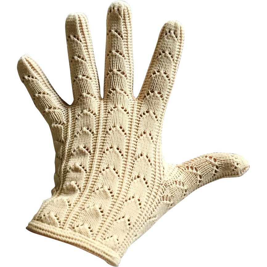 Vintage 1960s Arched Open Knit Cream Shortie Gloves Made In Spain