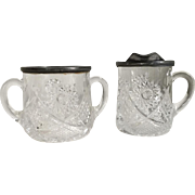 Vintage Pressed Glass Star Sunburst Sugar and Creamer Set with Pewter Silver Pot Metal Rims