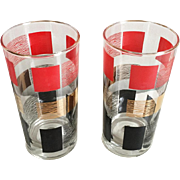 Pair of Vintage Modern MCM Beverage Glasses Gold Red Black on Clear Glass 1950s