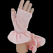 Vintage 1940s 1950s NOS Shalimar Pastel Pink Finger-less Nylon Mitts Gloves L