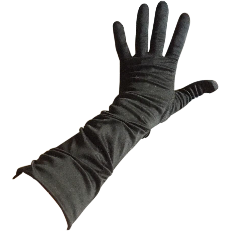 Vintage 1960s Black Hansen 3/4 Length Tufted Evening Gloves