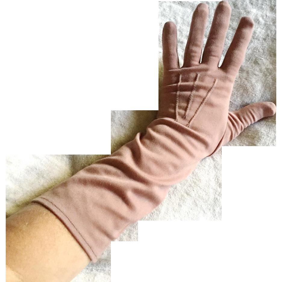 Vintage 1960s Mauve Fawn Light Brown Gloves 3/4 Length