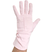 Vintage 1960s Pastel Pink Lady Gay NOS Deadstock Gloves with Faux Pearl Trim