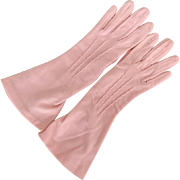 Vintage 1940s True Love Pink Lady Gay Gloves Nylon with Flared Hems Size 6
