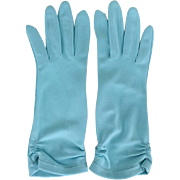 Vintage 1950s Aqua Turquoise Gloves with Faggoting Trimmed Hems