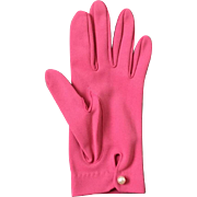Vintage 1960s Deep Rich Pink Cafe Shortie Gloves with Faux Pearl Button Wrist Closures