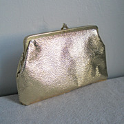 Vintage1960s Gold Shiny Clutch Zipper Bottom Purse