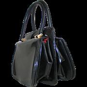 Vintage 1950s Rockabilly VLV Black and Red Sculptured Handbag Purse