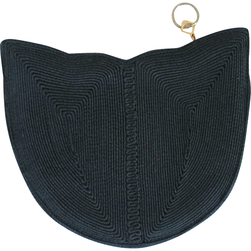 Vintage 1940s Black Corde Tulip Shaped Evening Bag Clutch Purse Hand Bag Handbag