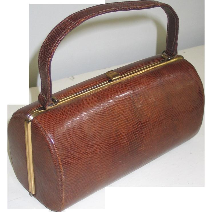 Vintage 1960s Cylindrical Brown Reptile Snake Leather Handbag Purse