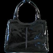Vintage 1960s Sleek Shiny Black Mod Purse Handbag