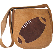 Vintage 1970s Suede Novelty Brown Football Shoulder Bag Purse
