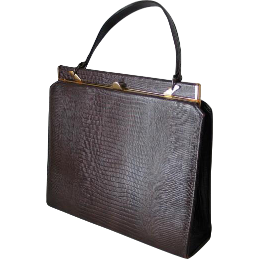 Vintage 1960s Walnut Brown Embossed Faux Reptile Purse Kelly Handbag