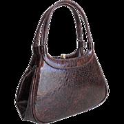 Vintage Authentic 1960s Dark Espresso Brown Faux Reptile Small Handbag Purse by Meyers