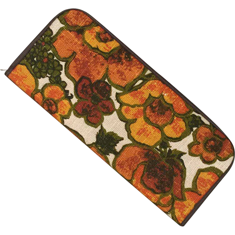 Vintage 1960s Huge Floral Print Envelope Purse Organizer Orange Olive Avocado Green Brown